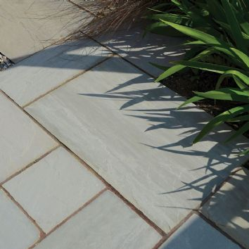 Pavestone Paving-Riven Sandstone-Light Grey-PAVING SLABS, SINGLE SIZE OPTIONS