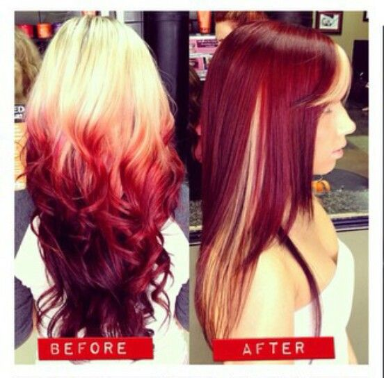 Remarkable Red Ombre Dyed Hair And Hair Color Ideas On Pinterest Hairstyle Inspiration Daily Dogsangcom