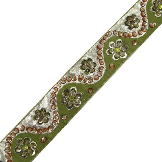 cinta étnica recorte ropa verde costura cortina de moda vestido de encaje de 1 yarda: Amazon.es: Hogar