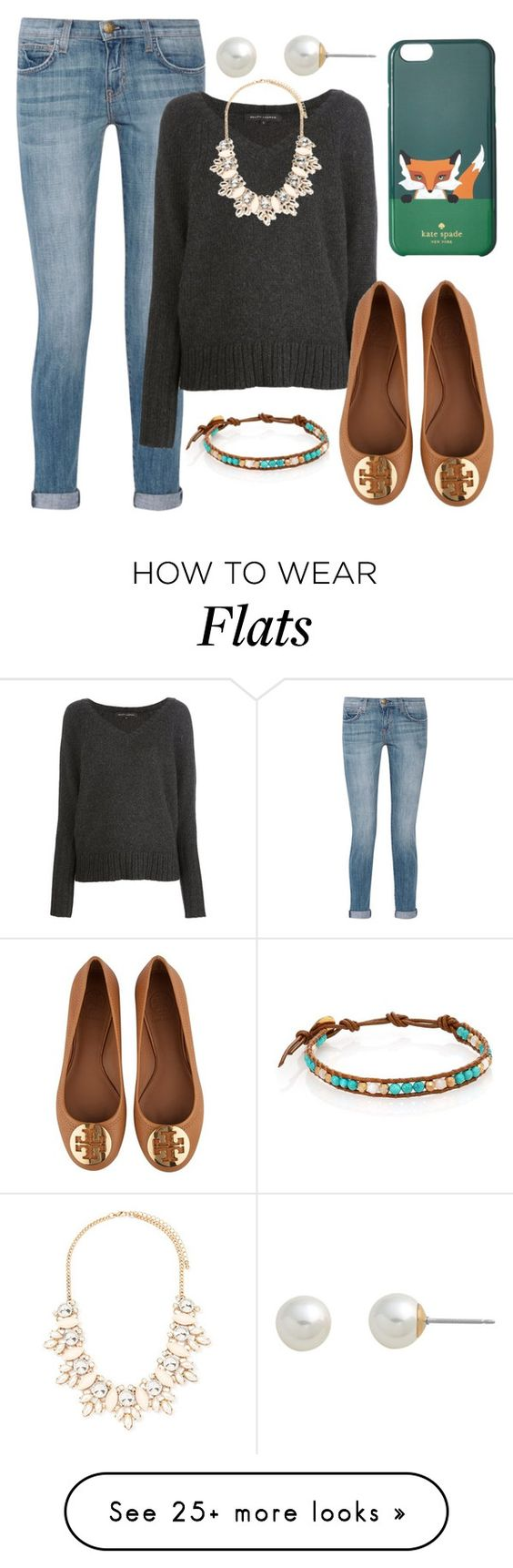 """B is for ballerina flats"" by sunshine915 on Polyvore featuring moda, Chan Luu, Current/Elliott, Ralph Lauren Black Label, Tory Burch, Forever 21, Kate Spade i Carolee:"