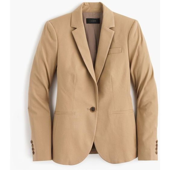 J.Crew Campbell Blazer ($220) ❤ liked on Polyvore featuring outerwear, jackets, blazers, cropped blazer, beige blazer, fitted jacket, fitted blazer and cropped fitted blazer