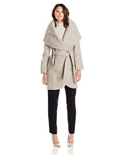 T Tahari Women's Marla Wool Wrap Coat Tweed Mink/Macrame Small T