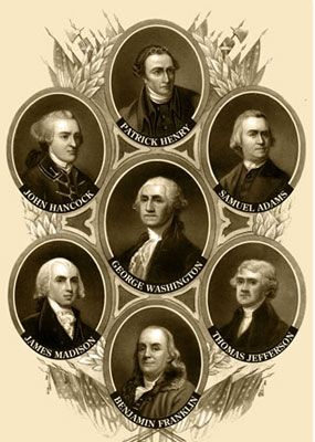 The Founding Fathers of the United States of America: Patrick Henry, Samuel Adams, Thomas Jefferson,Benjamin Franklin.James Madison,John Hancock, and George Washington.