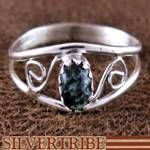 Navajo Snowflake Obsidian Genuine Sterling Silver Native American Ring