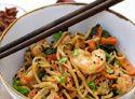 Stir-fry noodles with shrimp and vegetables recipe