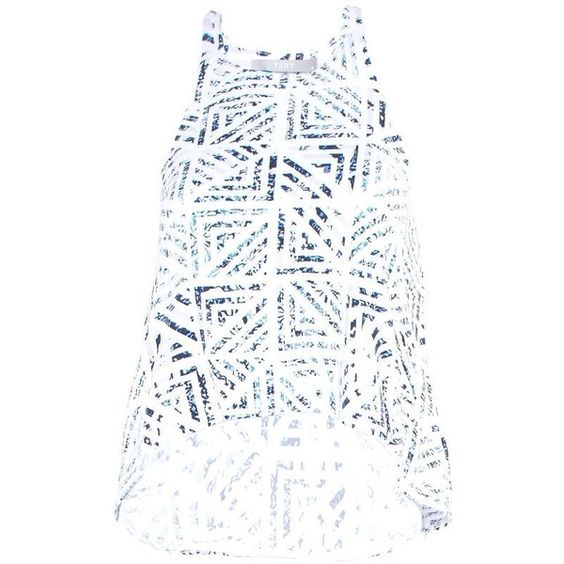 Onyx Top in Water Geo (1.155 NOK) ❤ liked on Polyvore featuring tops, geometric crop top, geometric top, pattern tops, white crop top and white tops