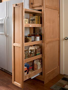 Slide out pantries and cabinets also work great in smaller for Adding drawers to existing kitchen cabinets