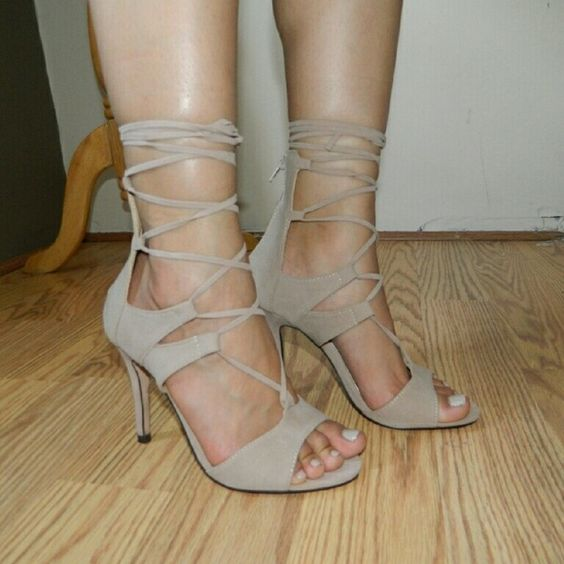 Nude beige heels strappy lace up sz 7 New in box. Fauz suede. Lace up. Chase & Chloe  Shoes Heels
