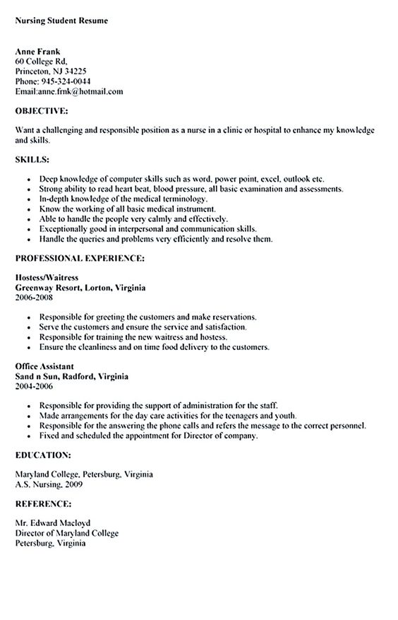 sample nursing student resume nursing student resume must contains relevant skills  experience