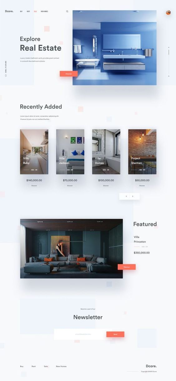 Real Estate Landing Page Concept In 2020 Real Estate Landing Pages Real Estates Design Real Estate Website