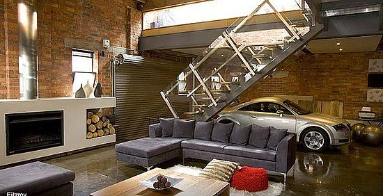 Drive in living room supervillain lairs pinterest for Loft car
