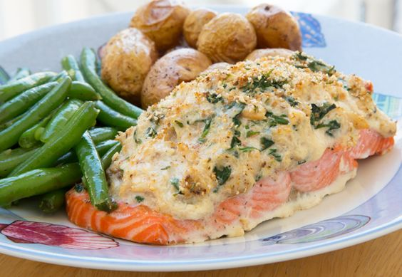 Stuffed salmon with cream cheese and crabmeat recipe a for Stuffed fish with crab meat