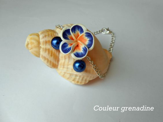 Bracelet minimaliste fleur de tiaré perles : Bracelet par couleur-grenadine33