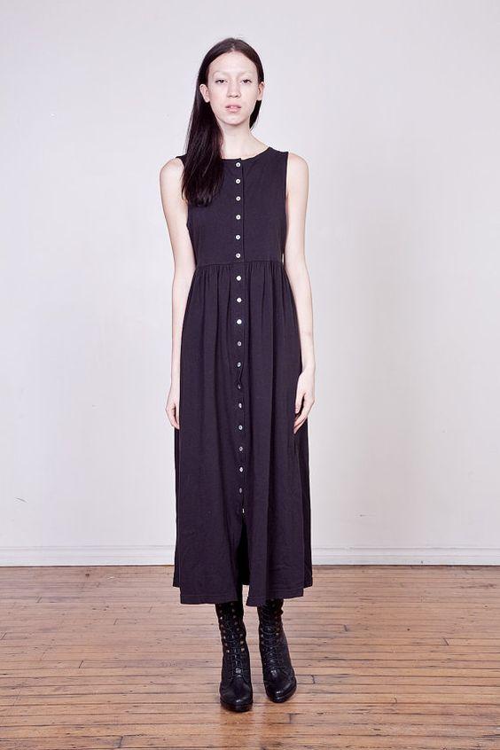 90s Black Cotton Empire Waist Button Down Maxi Dress - Maxi ...