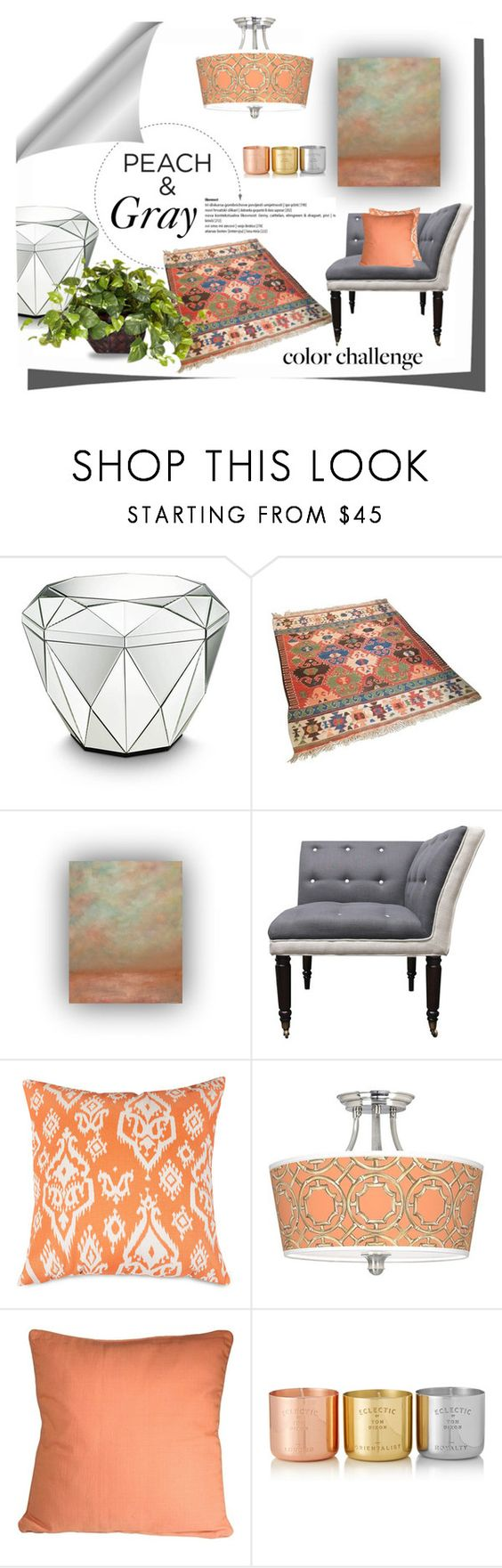 """""""Peach and Gray"""" by surfergirl3915-1 ❤ liked on Polyvore featuring interior, interiors, interior design, home, home decor, interior decorating, Amara, Dot & Bo, Giclee Gallery and Pillow Decor"""