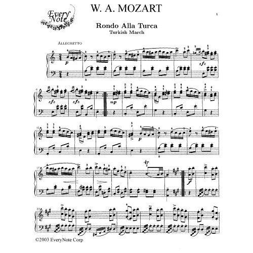 Sheet Music For Imperial March On Piano: Mozart Turkish March
