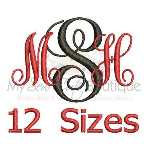interlocking embroidery font - 12 sizes