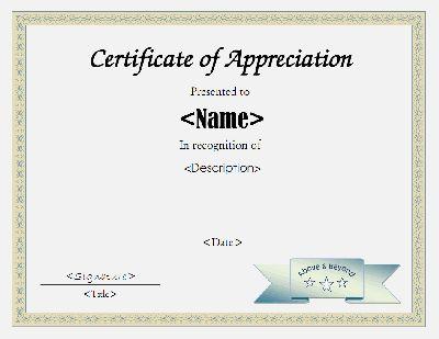 Certificate of appreciation template in PDF and DOC formats Free - certificate template doc