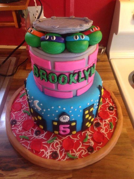 Girly ninja turtle cake Koek idees Pinterest Birthdays