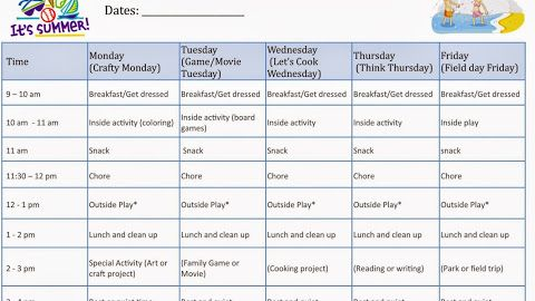 Kids At Home Summer Camp Schedule Printable Template Kids