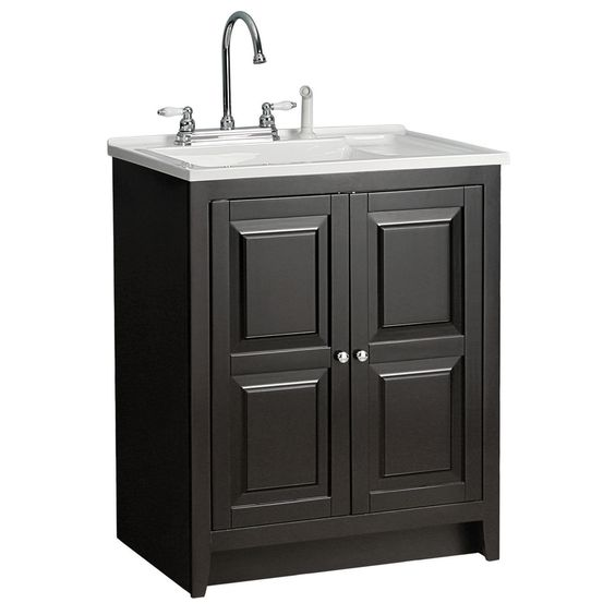 Shop Foremost Casual Acrylic Utility Tub In 30 1 2 Espresso Cabinet At Lowes Com Kitchen Utility Cabinet Utility Cabinets Kitchen Utilities