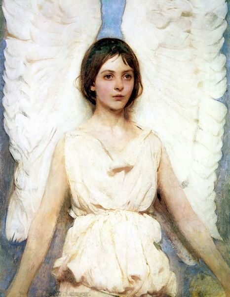 Angel by Abbott Thayer. Abbott Handerson Thayer (1849 – 1921) was an American artist, naturalist and teacher. The artist's daughter Mary was the model for this painting, which is one of my favorites from the Smithsonian American Art Museum.