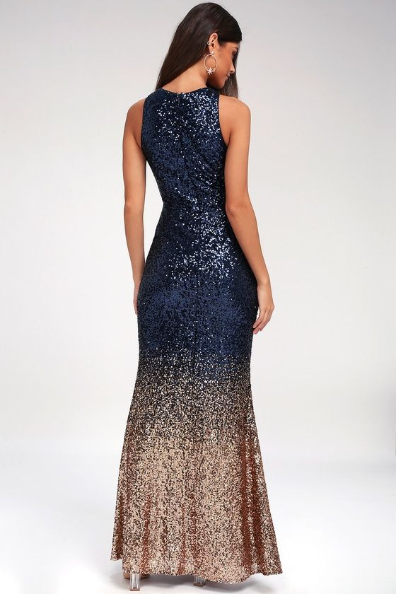 Infinite Dreams Rose Gold And Navy Blue Ombre Sequin Maxi Dress