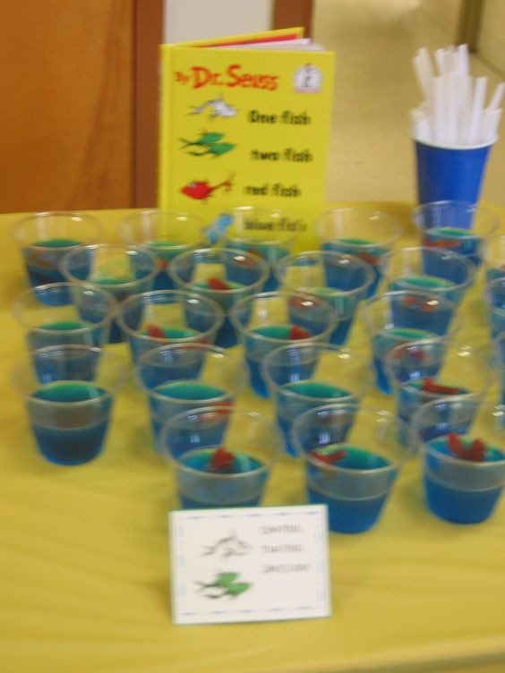 Dr. Seuss Theme Birthday Party - Blue Jello with Swedish Fish
