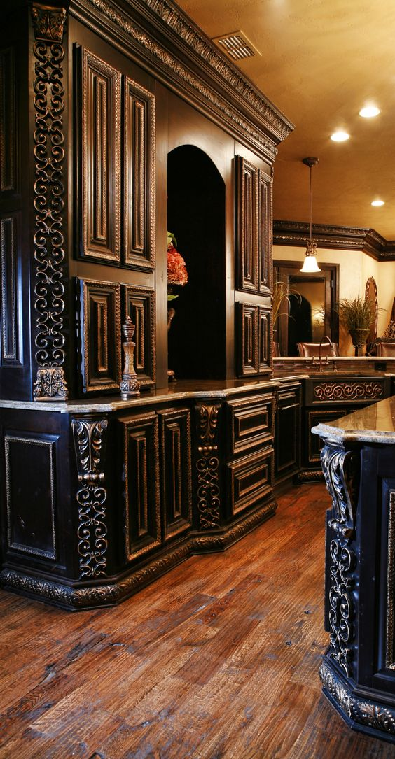 Wood cabinets style and cabinets on pinterest Old world tuscan kitchen designs