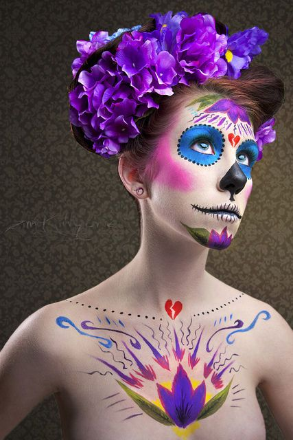 Gorgeous! #Day_of_the_Dead #costume #makeup #Halloween #purple