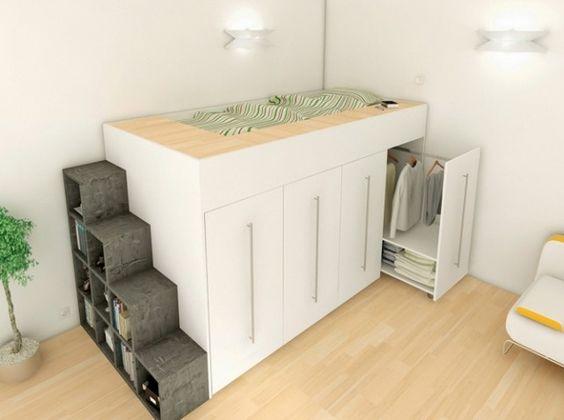 lit mezzanine sur mesure archea lescalier intgre des espaces de rangements - Mezzanine Sur Mesure