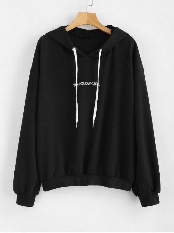 Download Plus Size Sweatshirts Hoodies Black Hoodie Letter Embroidered Plus Size Hoodie Black Aesthetic Clothes Fashion Fashion Romper