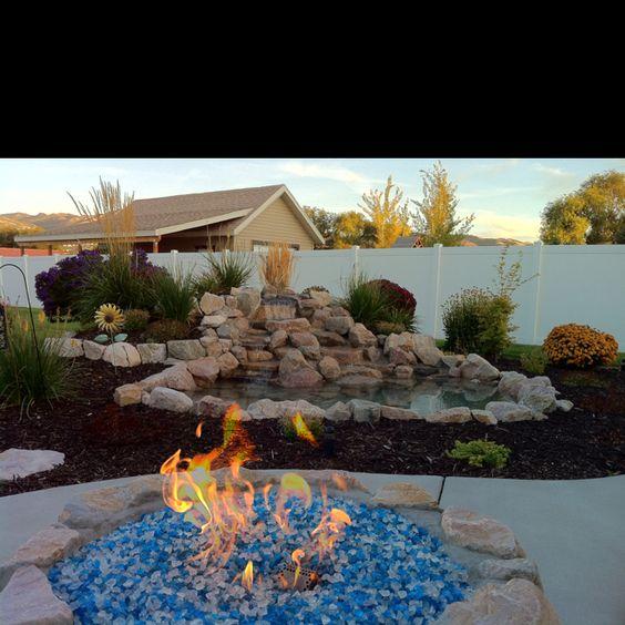 My Backyard Waterfall And Gas Fire Pit Yard Pinterest