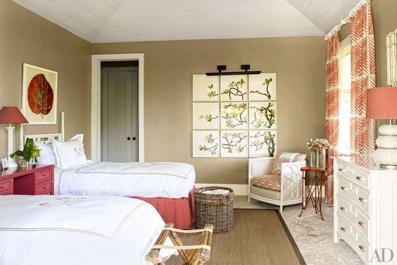 Step Inside Alessandra Branca's Bahamian Paradise// guest bedroom decor, tropical decor, monogrammed bedding