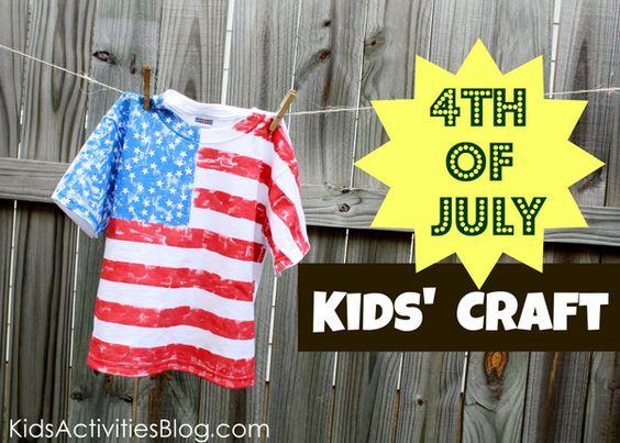 Kid craft- 4th of July fun! Make your own Flag tshirt!
