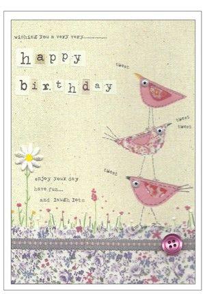 Happy birthday, 3 bird tower card
