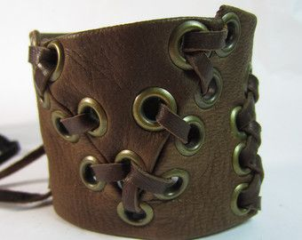 Warrior Cuff Brown Leather Bracelet Leather by Vacationhouse