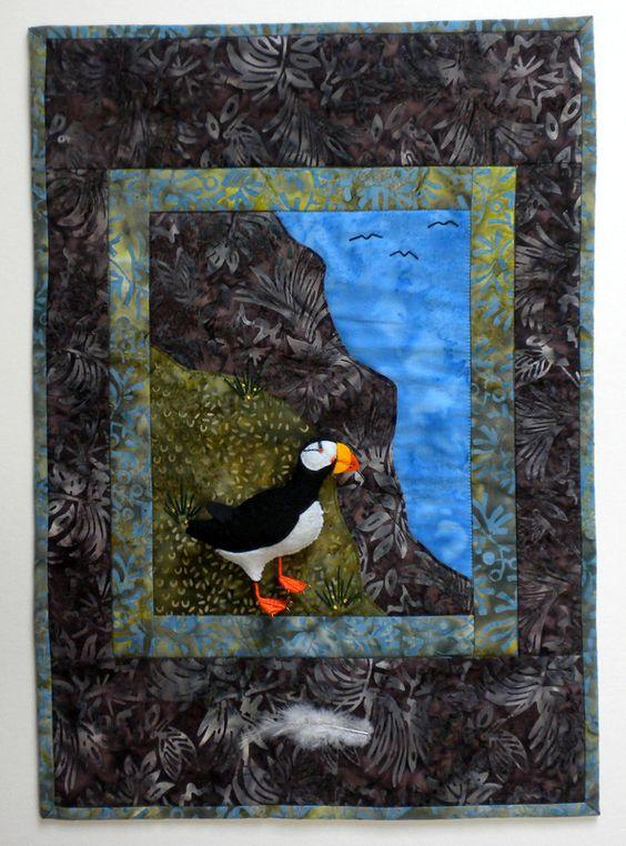art quilt patterns | Horned Puffin Art Quilt Pattern