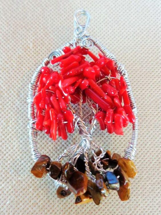 Coral Tree of Life Wire Art Suncatcher / Wire Wrap Wall Art Sculpture Decor / Coral Chip & Tiger's Eye Beads