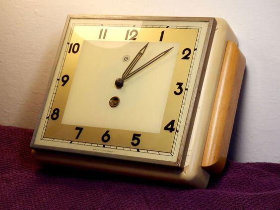Rare Bauhaus wind-up CS Chronotechna kitchen clock wall/pre- Prim Pragotron/