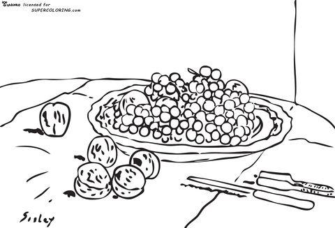 Uvas Y Nueces En Una Mesa De Alfred Sisley Dibujo Para Colorear Dibujos Para Colorear Paginas Para Colorear Uva Dibujo
