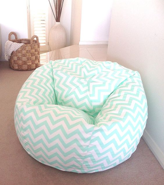 Bean Bag Mint Green Zig Zag adults, teenagers, kids. Chevron BeanBag Boys, Girls Birthday Yellow, Pink, Wisteria, Mint Green Pastel Colours