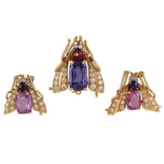 "VAN CLEEF & ARPELS Paris Trio of Diamond, Sapphire, and Ruby ""Bee"" Clips, ca. 1947"