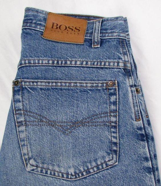 Men Vintage Hugo Boss Jeans Straight Leg 100% Cotton Made in Italy ...