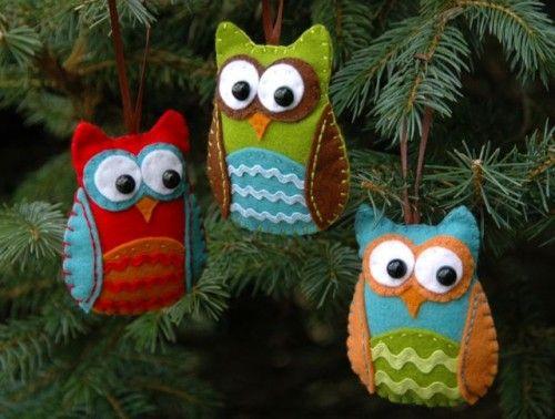 Felt owl Christmas ornaments