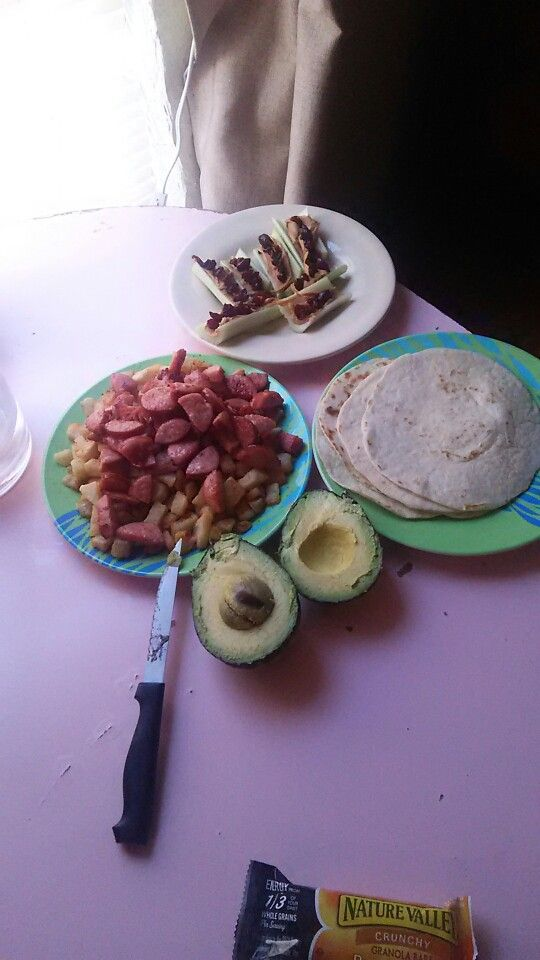 Celery peanut butter with dried cranberries is my wife's and fried potatoes and sausage tortillas and avocado is mine!