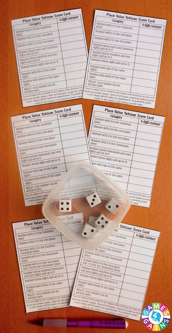 FREE Place Value Yahtzee Game! This is such a fun, clever way to help kids practice place value.  It even includes 4 differentiated levels (3-digit numbers, 4-digit numbers, 6-digit numbers, and decimals)!