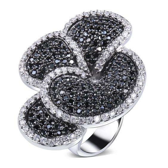 Cubic Zirconia Ring 4 Petals Flower Design Black & White Relief Trendy Micro Pave Setting Workmanship Eco Friendly Black Coated 2-Tone - SJ09146JT2