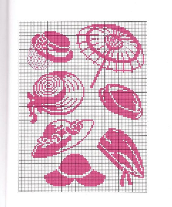 point de croix chapeaux roses - cross stitch pink hats: