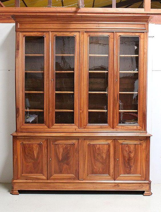 Bibliotheque Deux Corps En Noyer Massif Fin Xixe Antiquites Lecomte Massif Mobilier De Salon Bibliotheque